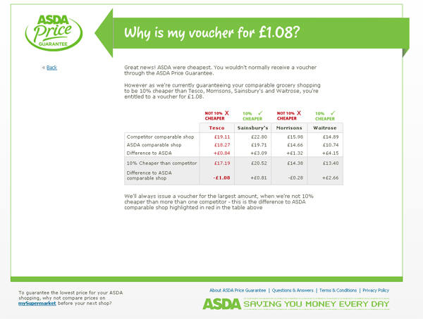 Screengrab of Asda's price comparison (click to enlarge)