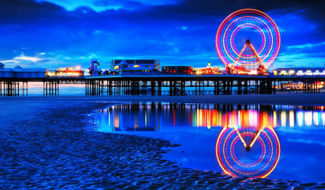 Blackpool beach at night