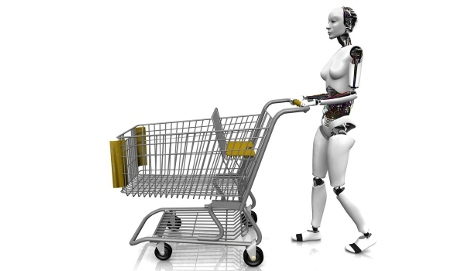 Robot with shopping trolley