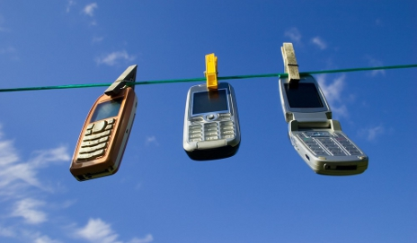 Mobile phones on washing line