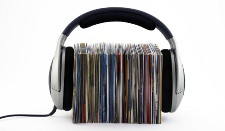 Headphones around CD collection