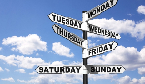 Sign with days of the week