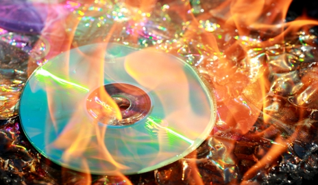 DVD burning in flames