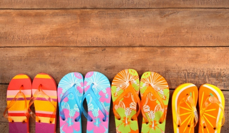 Brightly coloured flip-flops