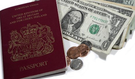 British passport and American money