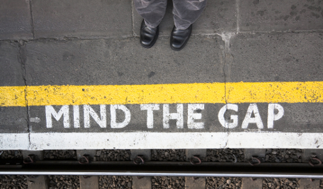 'Mind the gap' sign on Underground platform