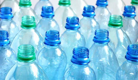 Empty plastic water bottles