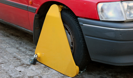 Red car clamped