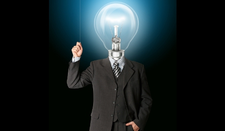 Business man with bulb for head