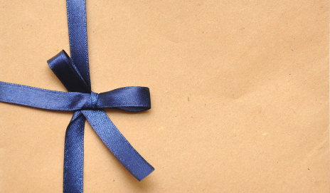 Brown envelope with ribbon