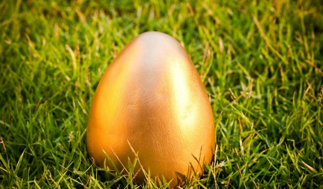 A gold egg in the grass