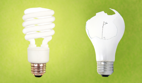 Energy saving and broken traditional light bulbs