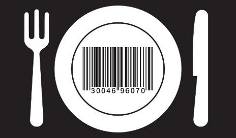 Graphic of dinner plate with barcode