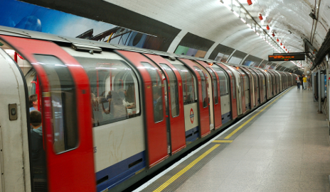 Tube train leaving station