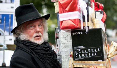 Sir Derek Jacobi as Scrooge in Sony ad