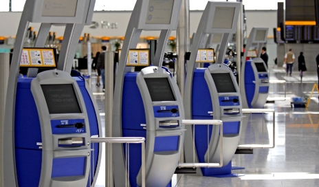 Self-service airport kiosks