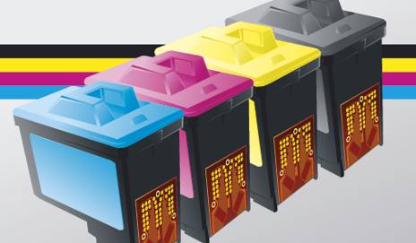 Row of printer ink