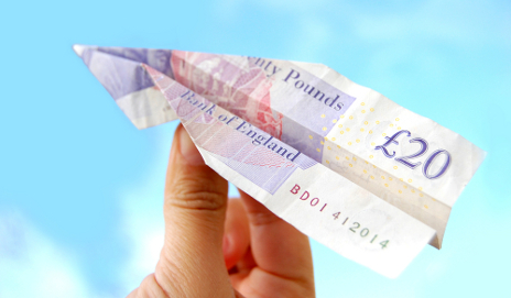 £20 note as a plane