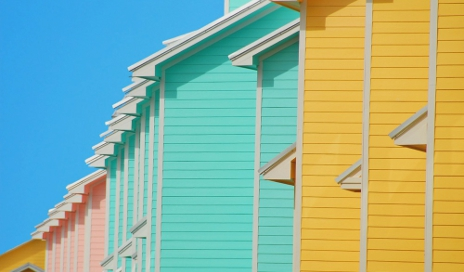 Row of colourful holiday homes