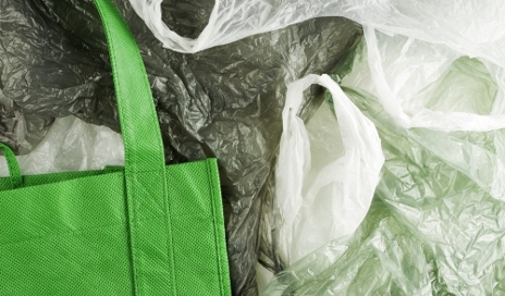 Plastic bags and green bag for life