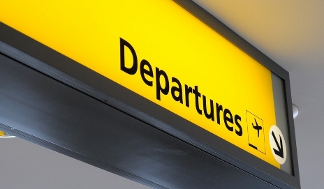 Departure gate sign