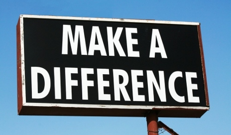 Sign saying 'make a difference'