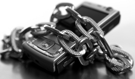 Mobile phone wrapped with chains