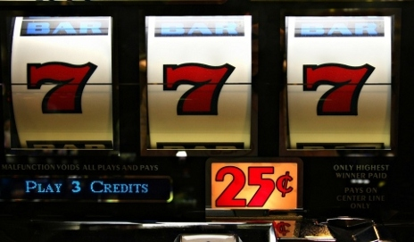 Three number sevens on slot machine