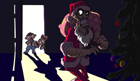 Cartoon of Santa stealing presents