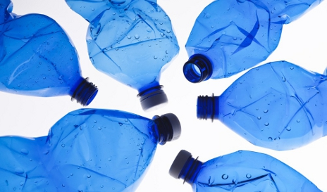 Scrunched-up plastic bottles