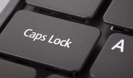 Caps Lock key on laptop keyboard