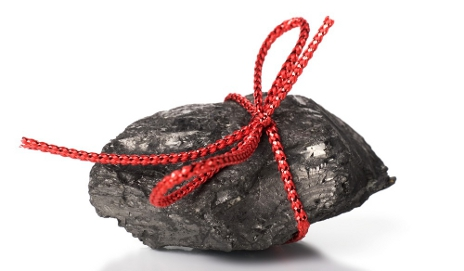 Lump of coal wrapped with ribbon