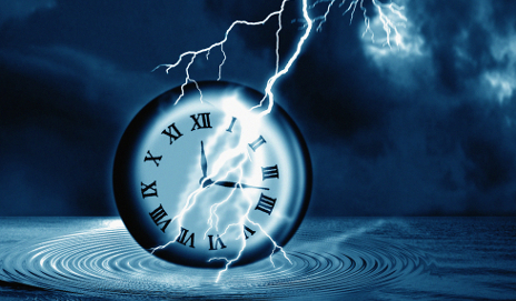 Clock under lightening