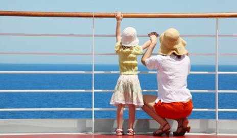Mum and daughter on cruise ship