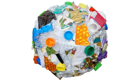 Ball of recycled plastics