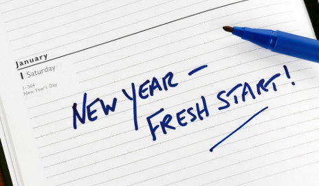 Note saying 'New year - fresh start!'