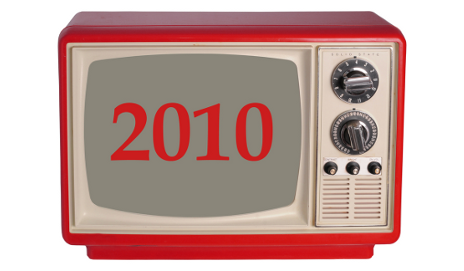 Old fashioned TV with 2010 text