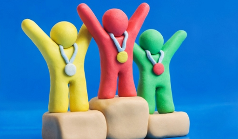 Plasticine people getting medals