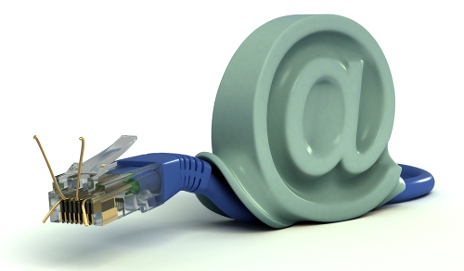 Snail formed from Ethernet cable and @ sign