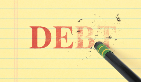 Word debt rubbed out by pencil