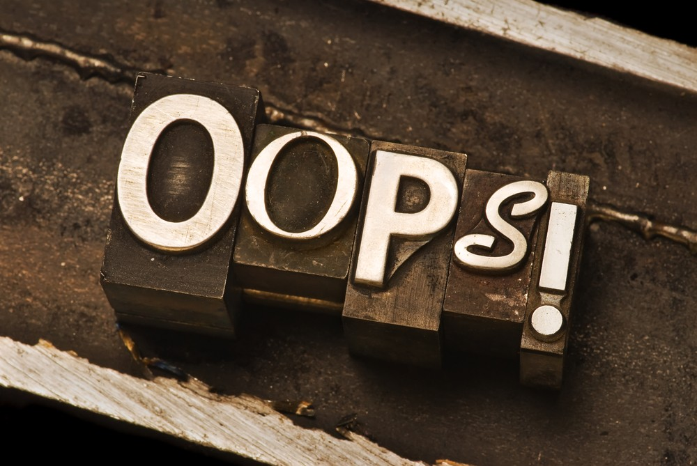 Sign saying 'oops'