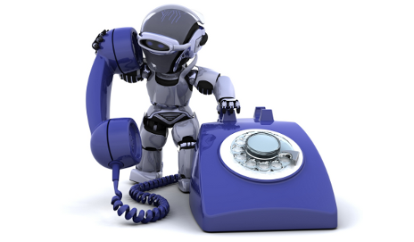 Robot on the phone