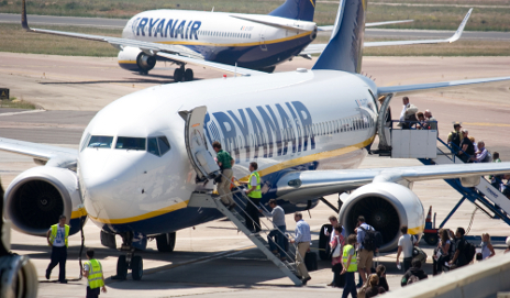 Passengers boarding Ryanair flight