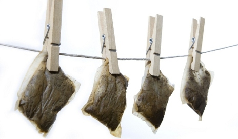 Teabags hung out to dry
