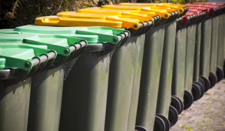 Row of rubbish bins
