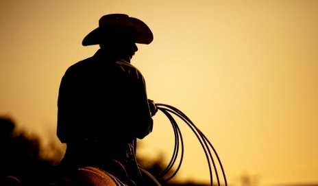 Silhouette of a cowboy