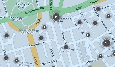 Screenshot of crime map of area around Which? HQ in London
