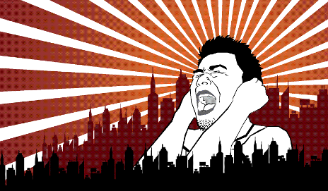 Cartoon of man shouting in city