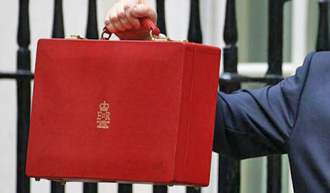 George Osborne holding up the budget briefcase