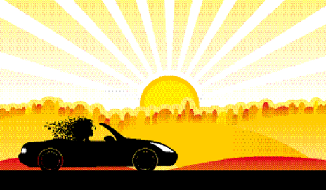 Convertible graphic under sun